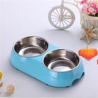 melamine dog bowl - Dog Food Double Bowl High Quality Melamine Plastic Stainless Steel Dog Double Bowl Personalised Dog Bowls Hot Sale BL004