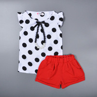 baby pearl necklaces - Retail baby girls chiffon suits summer pearl necklace polka dot shirt red shorts children sets korean style kids clothing HX