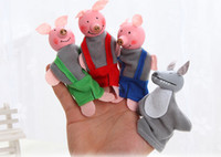 Wholesale DHL Free ship Little Red Riding Hood Finger Puppets Toys set the Wolf Finger Puppets Educational Toys Storytelling Dolls
