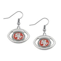 Cheap New Fashion High Quality Alloy Metal Plated Oval Football San Francisco Team Logo Spirit Sport Earrings Wholesale10 Pair lot