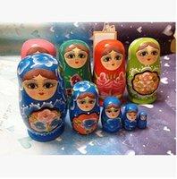 Cheap 2014Handmade Traditional colorful Matryoshka Doll 5pcs set Wooden timber Russian Nesting Dolls Child Gift Decreasing Size Toy
