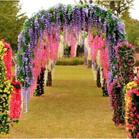 Wholesale 12pcs cm Long Artificial Silk Wisteria Fake Garden Wedding Hanging Flower Plant Vine Decoration wedding party supplies HHT1