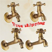 Wholesale Single Cross Handles Bathroom Washing Machine Mop Pool Faucet Antique Brass Finished