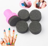 Wholesale New Magic Nail Art Sponges Rainbow Nail Stamper Polish Sponge Nail Brush Stamping Manicure Nail Buff Nail Seal