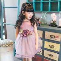Wholesale Flower Princess Dresses Children Clothes Kids Clothing Spring Summer Dresses Girls Ruffle Tulle Dress Korean Girl Dress