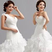 Wholesale TW107 Sexy Romantic Fashionable Plus Size One Shoulder Mermaid Wedding Dress Gown Bridal Dress Gowns Vestido De Noiva