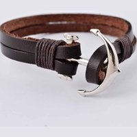 anchor wraps - Vintage alloy anchor clasp men brown wrap leather bracelet layers leather bracelet bangle for man and women FB00018