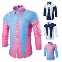 oxford shirts - 2015 autumn New mens shirts casual slim fit shirt long sleeve shirts splicing Oxford shirt men s clothing