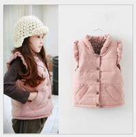 american flying jackets - Autumn Winter Girls Cotton Waistcoat Vest New Hot Sale Cute Girl Floral Down Jacket Waistcoats Children Clothes Kids Flying Sleeve Vest