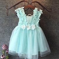 Wholesale Summer Kids Dress Fashion - Fashion girls Lace Crochet Vest Dress 2015 new Princess Girls sleeveless crochet vest Lace dress baby party dress kids clothes Cyan Pink
