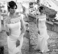 Wholesale 2015 vintage long sleeves beach wedding dresses off shoulder bateau neck lace appliques beaded bridal gowns sexy A Line wedding dress BO7651