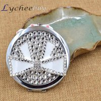 Wholesale Double Sides Bowknot Diamond Mini Pocket Cosmetic Compact Makeup Mirror