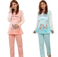 Wholesale Clothes for pregnant women nursing clothes maternity full sleeve lounge cotton sleepwear pajama set AP135