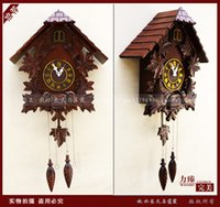bamboo wall sculpture - 2014 promotion bamboo wooden ou new arrival cuckoo wood sculpture music alarm wall clock CM