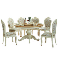Wholesale European Dolid Wood Dining Tables And Chairs combination of hand carved ivory wood Dinette