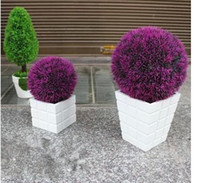 artificial boxwood ball - 25cm diameter violet artificial plastic boxwood ball grass ball for indoor outdoor decoration