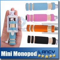 Wholesale Hot Super Mini Wired Selfie Stick Portable Extendable Folding Handheld Monopod Self Timer With Groove Audio Cable for iPhone Samsung Android