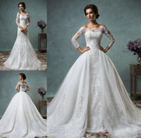 Wholesale 2016 New Overskirt Wedding Dresses Full Lace Long Sleeves Bridal Gowns Amelia Sposa Arabic Wedding GownsBateau Neck Zip Back Court Train