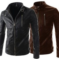 Wholesale Personalize Men Cool Leather Jacket Long Sleeve Stand Collar PU Motorcycle Jacket For Men Contracted Slim Style Men Overcoat J160118