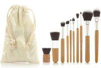 bamboo facial - Pro Cosmetic Brush set Bamboo Handle Makeup Brushes Kit toiletries facial make up brush set tools