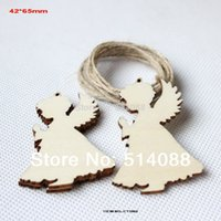 Wholesale Blank unfinished unpaid wood angel rustic tags Christmas decor gift hanging tags CT1062