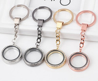 Wholesale New Keychain Austrian Crystal Living Memory Floating Heart Locket Pendant DIY Keychain Stainless Steel Charms Jewelry Findings Components