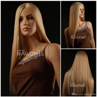 Wholesale ladies wigs straight long blonde wig for women sensational gold color Synthetic fiber of Kanekalon pc ZL471