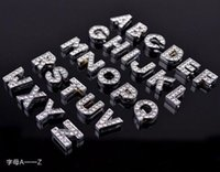 alphabet beads for bracelets - 130pcs sets Full Rhinestone Slider Bead Charms Alphabet Letter A Z Beads For mm Belt Bracelets DIY Charms