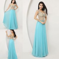 Reference Images V-Neck Chiffon Wow!!Sexy Backless Prom Dresses 2014 Nude See Through V Neck Cap Sleeves With Beaded Rhinestones Ruffles Aqua Pageant Dresses For Girls DY