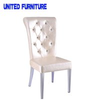 Wholesale 2 pieces a LEATHER Dining Chairs stainless steel Legs Original Designed Brand Chairs With PU Leather