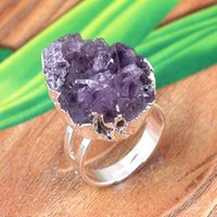 Wholesale Gold Silver Plated Natural Durzy Amethyst Rock Crystal Yellow Quartz Clusters Stone Random Adjustable Finger Ring Jewelry