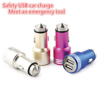 Wholesale Safety USB car charge metal universal USB Adapter Colorful Car Charger for iPhone samsung smart phone meet an emergency tool DHL