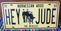 Wholesale new Norwegian Wood Beatles Vintage License plate Poster Retro Metal Painting Tin Plate Cafe Bar Wall Sticker Home Art Decor Tin sign