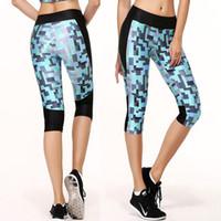 Wholesale Women s Fashion Building Blocks Printed Yoga capris Tight Sports Pants Running leggings fitness pants GYM Skinny capris