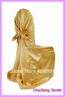 Wholesale 100pcs Bright Gold Satin Universal Chair Cover Satin Back Self Tie Chair Cover for Wedding Decoration