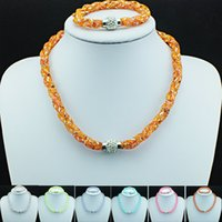Wholesale New Arrival Jewelry Sets Stardust Filled Crystal Mesh Infinity Magnetic Clasp Link Bracelets Necklace Sets DIY Luxury Jewelry