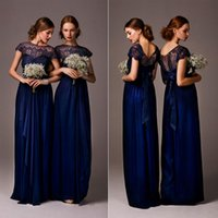 Wholesale Fashion Jewel Neck Top Lace Royal Blue Bridesmaid Dress Chiffon Long Bride Maid Dress Gown