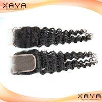 Wholesale Top quality unprocessed remy human hair pieces deep wave Brazilian human hair no shedding lace closure CB132