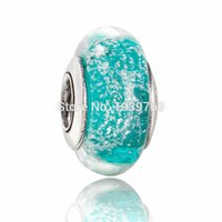 Wholesale pandora Teal Ariel murano glass bead ale sterling silver charms loose beads diy jewelry for thread bracelet GB048