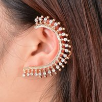 Wholesale New Fashion Diamante Gold Plated Ear Wrap Cuff Earring Ear Stud Womens Girls Gift Punk Style PC