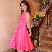 arabic party decorations - Hot Pink Short Prom Gowns Cheap Under V Neck Lace Applique Belt Decoration Homecoming Party Dress Arabic Women Vestidos De Festa