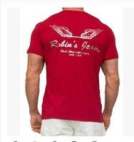 jeans xxxl - Cool Men Robins Jean T Shirt Real AMERICAN Jeans Tops Tee Black size M L XL XXL XXXL