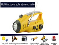 dynamo emergency light radio - LED Radio Flashlight Mulit function solar dynamo torch w hand crank torch light led emergency light