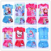 bathing cartoon - Frozen Kids Swimwear Elsa Anna Sofia Kitty Mermaid Princess Swimsuit Set Girls Beachwear Children Swim Costumes Cartoon Bathing Suits