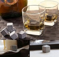 Wholesale High Quality Natural Whiskey Stones set Whisky Stones Cooler Whisky Rock Soapstone Ice Cube With Velvet Storage Pouch