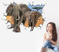 big double bedroom - 100 Cm New D Big Double Elephants Catoon Wall Decals Living Room Bedroom Removable Wall Stickers Murals RK789984