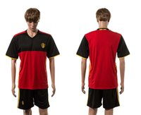 belgium names - Top Quality European Cup Belgium Home Soccer Uniform Football Jerseys And Shorts Embroidery Logo Customization Name Number