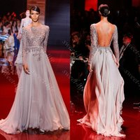 Wholesale Hot Sale Elie Saab Celebrity Dresses Backless Long Sleeve See Through Crystal Beading A Line Sheer Neck Formal Prom Dress Evening Gowns