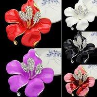 Wholesale Hot Bridal Wedding Jewelry Pretty Lily Rose Brooch Crystal Rhinestone Pins Gift