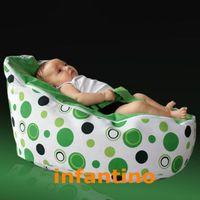Wholesale Cotton canvas Green polka green dots Infant Baby Bean Bag